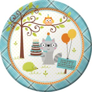 Boy Birthday Lunch Plates 8ct - Happi Woodland
