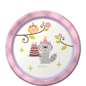 Girl Birthday Dessert Plates 8ct - Happi Woodland