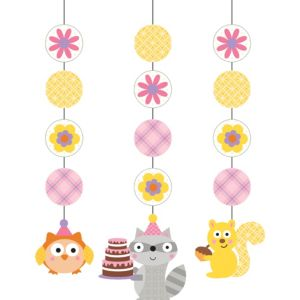 Girl Birthday String Decorations 3ct - Happi Woodland