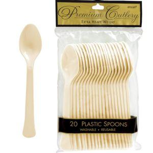 Vanilla Cream Premium Plastic Spoons 20ct
