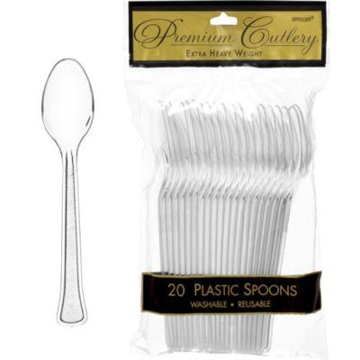 CLEAR Premium Plastic Spoons 20ct
