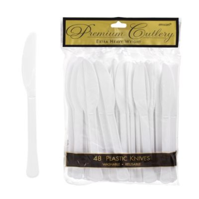 White Premium Plastic Knives 48ct