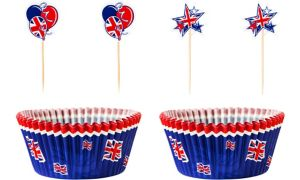 Union Jack Cupcake Decorating Kit for 24 - Great Britain