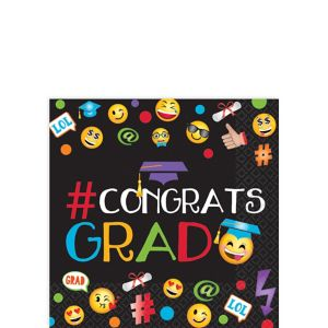 Smiley Graduation Beverage Napkins 125ct