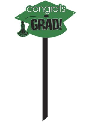 Green Graduation Yard Sign - Congrats Grad