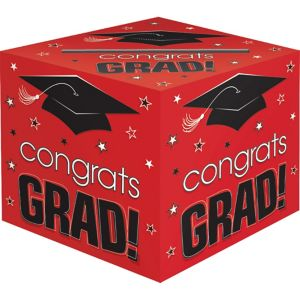 Red Graduation Card Holder Box - Congrats Grad
