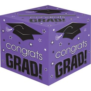 Purple Graduation Card Holder Box - Congrats Grad
