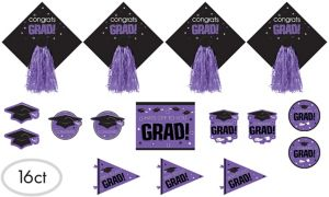 Purple Graduation Cutouts 16ct - Congrats Grad