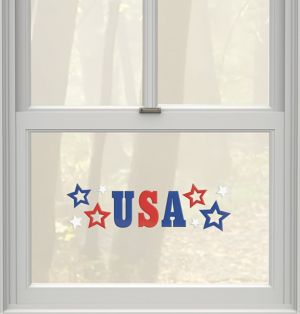 Patriotic Red, White & Blue Gel Cling Decals 10ct