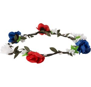 Patriotic Red, White & Blue Floral Headwreath