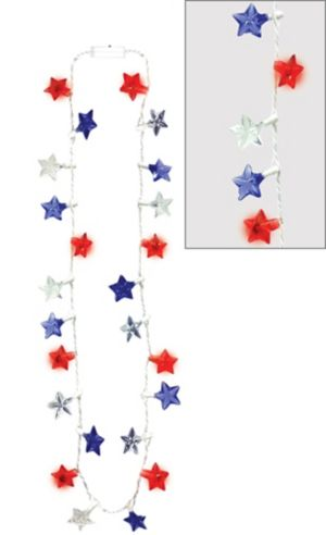 Light-Up LED Patriotic Red, White & Blue Star Necklace