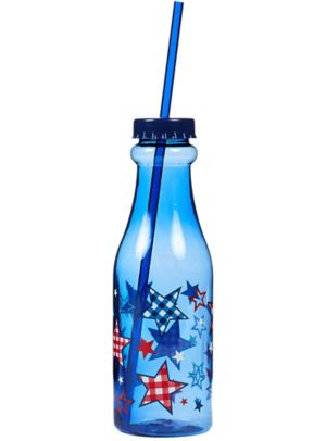 Blue Patriotic Soda Bottle