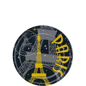 Gold Eiffel Tower Paris Dessert Plates 8ct