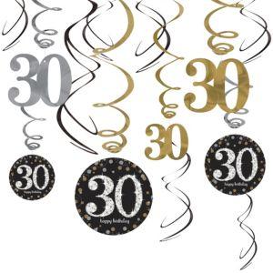 30th Birthday Swirl Decorations 12ct - Sparkling Celebration