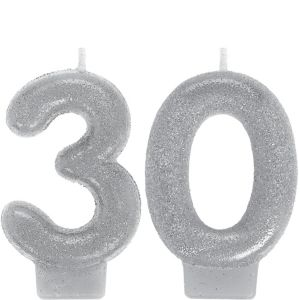 Glitter Silver Number 30 Birthday Candles 2ct