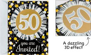 Premium Prismatic 50th Birthday Invitations 8ct - Sparkling Celebration