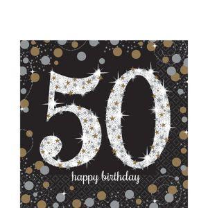50th Birthday Lunch Napkins 16ct - Sparkling Celebration