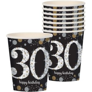 30th Birthday Cups 8ct - Sparkling Celebration