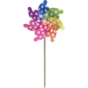 Polka Dot Rainbow Pinwheel Yard Stake