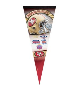 Premium San Francisco 49ers 5X Super Bowl Champs Pennant Flag