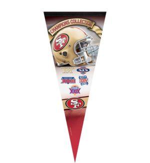 Premium San Francisco 49ers 5X Super Bowl Champs Pennant Flag