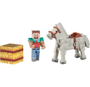 Steve & Horse Minecraft Playset 4pc