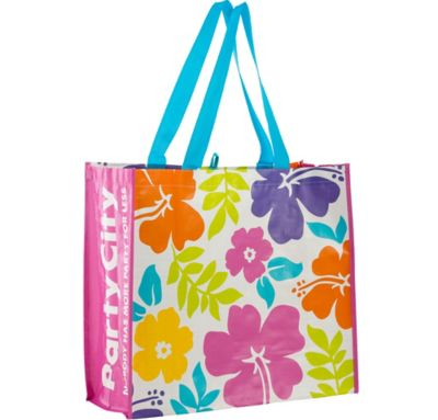 Hibiscus White Tote Bag 19in X 17 12in Party City