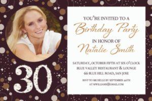 Custom Sparkling Celebration 30 Photo Invitation