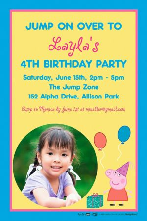 Custom Peppa Pig Photo Invitation