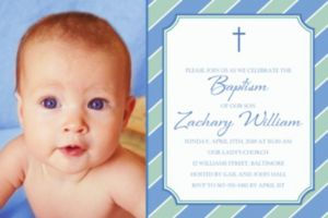 Custom Simple Cross and Stripes Photo Invitation