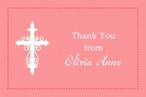 Custom Fancy Baptism Cross Peach Thank You Note