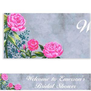Custom Floral Brush Stroke Banner