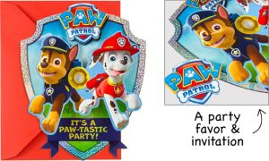 Premium Prismatic PAW Patrol Invitations with Badges 8ct