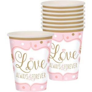 Sparkling Pink Wedding Cups 8ct
