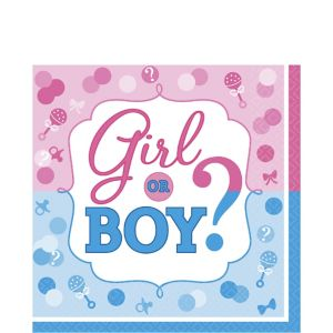 Girl or Boy Gender Reveal Lunch Napkins 16ct