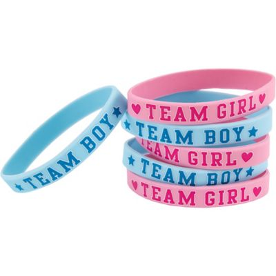 girl or boy gender reveal wristbands 6ct party city