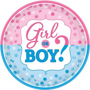 Girl or Boy Gender Reveal Dinner Plates 8ct