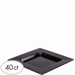 Mini Black Plastic Square Appetizer Plates 40ct