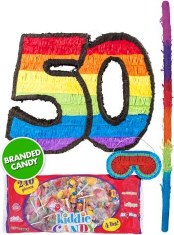 Rainbow Number 50 Pinata Kit