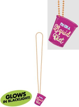 Black Light Neon Pink Shot Glass Necklace