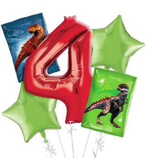 Prehistoric Dinosaurs 4th Birthday Balloon Bouquet 5pc
