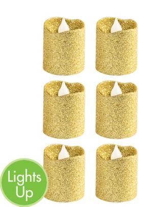 Glitter Gold Votive Flameless LED Candles 6ct