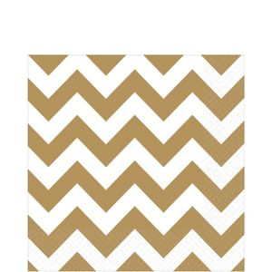 Gold Chevron Lunch Napkins 16ct