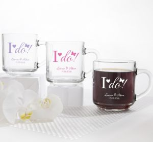 PERSONALIZED Wedding Glass Coffee Mugs (Printed Glass) (Pink, I Do)