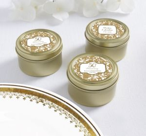 PERSONALIZED Wedding Round Candy Tins - Gold (Printed Label) (50th Anniversary)