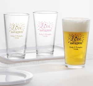PERSONALIZED Wedding Pint Glasses (Printed Glass) (Gold, Sparkling Pink Wedding)