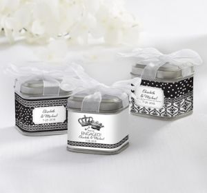 PERSONALIZED Wedding Favor Tins with Bows (Printed Label) (Damask & Dots)