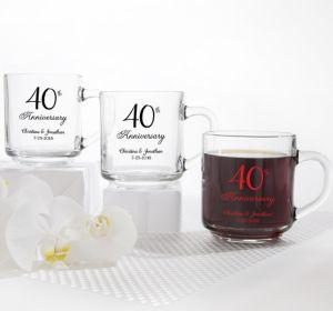 PERSONALIZED Wedding Glass Coffee Mugs (Printed Glass) (Red, 40th Anniversary)