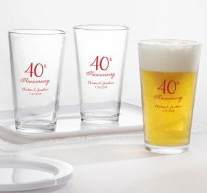 PERSONALIZED Wedding Pint Glasses (Printed Glass) (Red, 40th Anniversary)