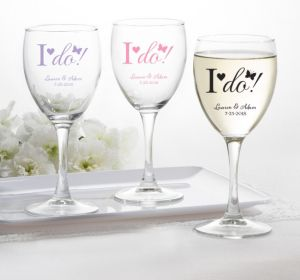 PERSONALIZED Wedding Wine Glasses (Printed Glass) (White, I Do)